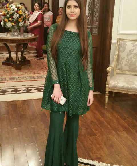 latest green short frock with sharara girls net dresses 2017 pakistani party dresses with price