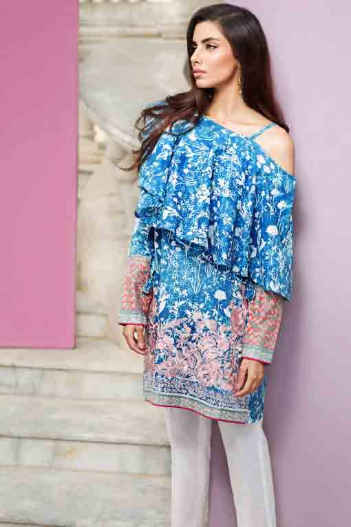 new khaadi off shoulder blue and white floral short shirt new summer lawn dresses 2017 for Pakistani girls