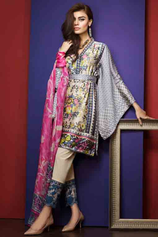 new khaadi digital print short shirt with trouser and matching dupatta new summer lawn dresses 2017 for Pakistani girls