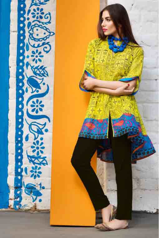 best khaadi yellow and blue short frock with black pajama new summer lawn dresses 2017 for Pakistani girls