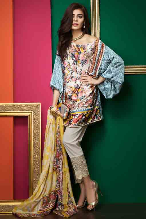 latest khaadi digital print ferozi short shirt with white trousers and matching yellow dupatta new summer lawn dresses 2017 for Pakistani girls