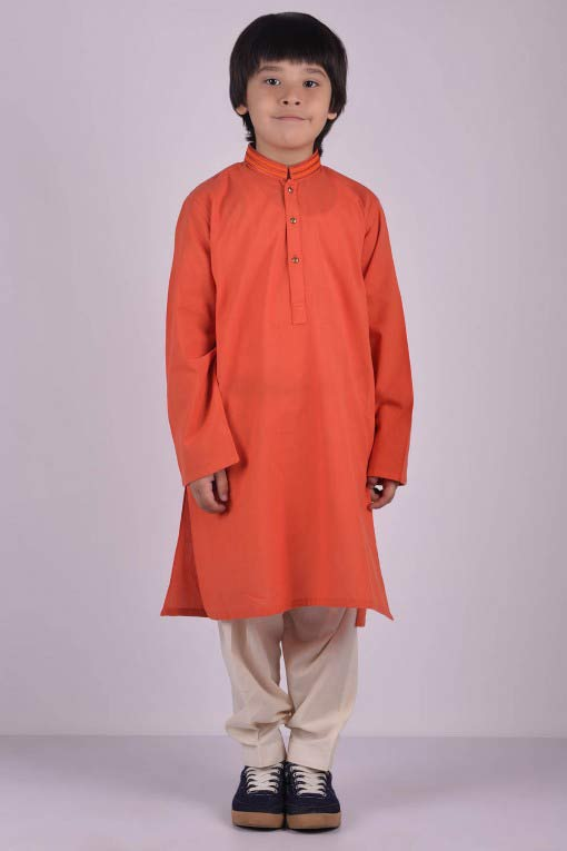 orange latest little boys kurta shalwar kameez designs 2017 for summer in Pakistan