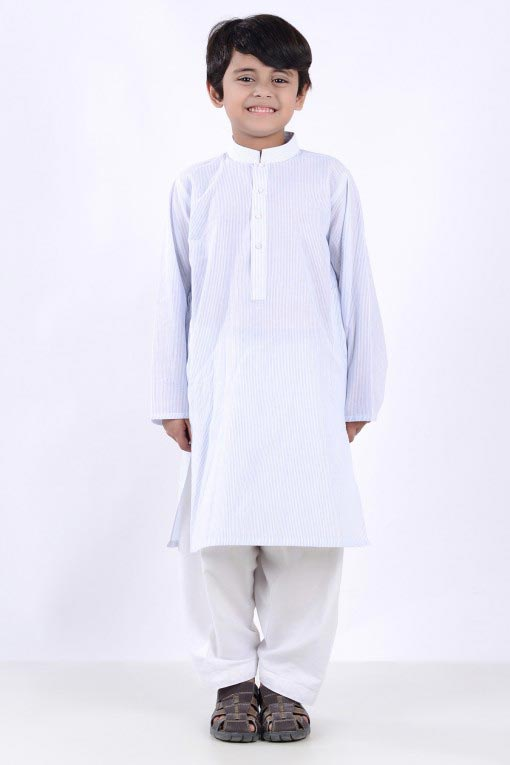 white latest little boys kurta shalwar kameez designs 2017 for summer in Pakistan