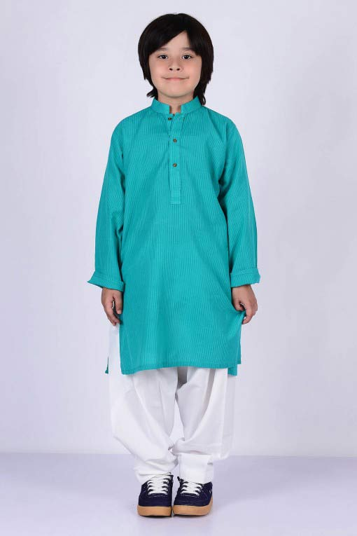 sea green kurta with white shalwar latest little boys kurta shalwar kameez designs 2017 for summer in Pakistan