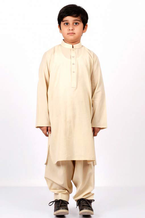 Beige latest little boys kurta shalwar kameez designs 2017 for summer in Pakistan