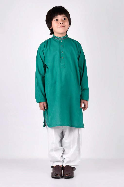 green latest little boys kurta shalwar kameez designs 2017 for summer in Pakistan