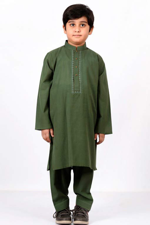 Best dark green latest little boys kurta shalwar kameez designs 2017 for summer in Pakistan