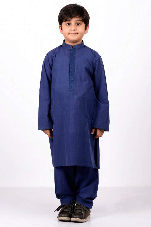 best dark blue latest little boys kurta shalwar kameez designs 2017 for summer in Pakistan