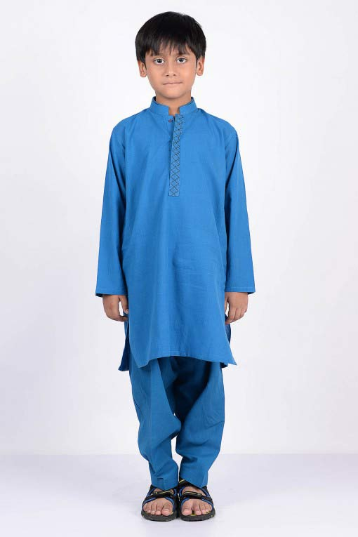 new blue latest little boys kurta shalwar kameez designs 2017 for summer in Pakistan