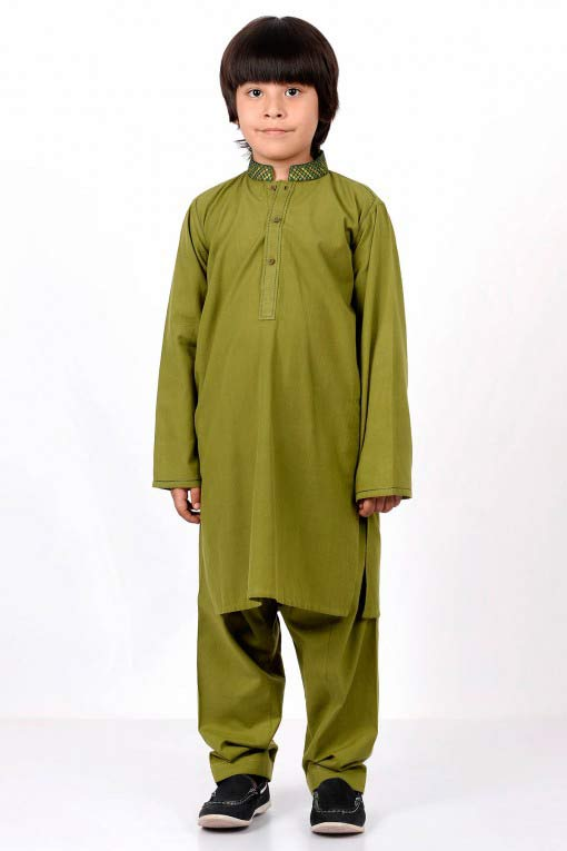 full green latest little boys kurta shalwar kameez designs 2017 for summer in Pakistan