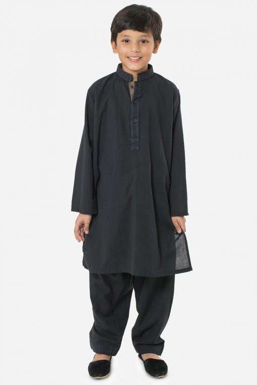 full black latest little boys kurta shalwar kameez designs 2017 for summer in Pakistan