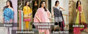 latest designers khaadi sanasafinaz alkaramstudio gulahmed and asim jofa new summer lawn dresses 2017 for Pakistani girls