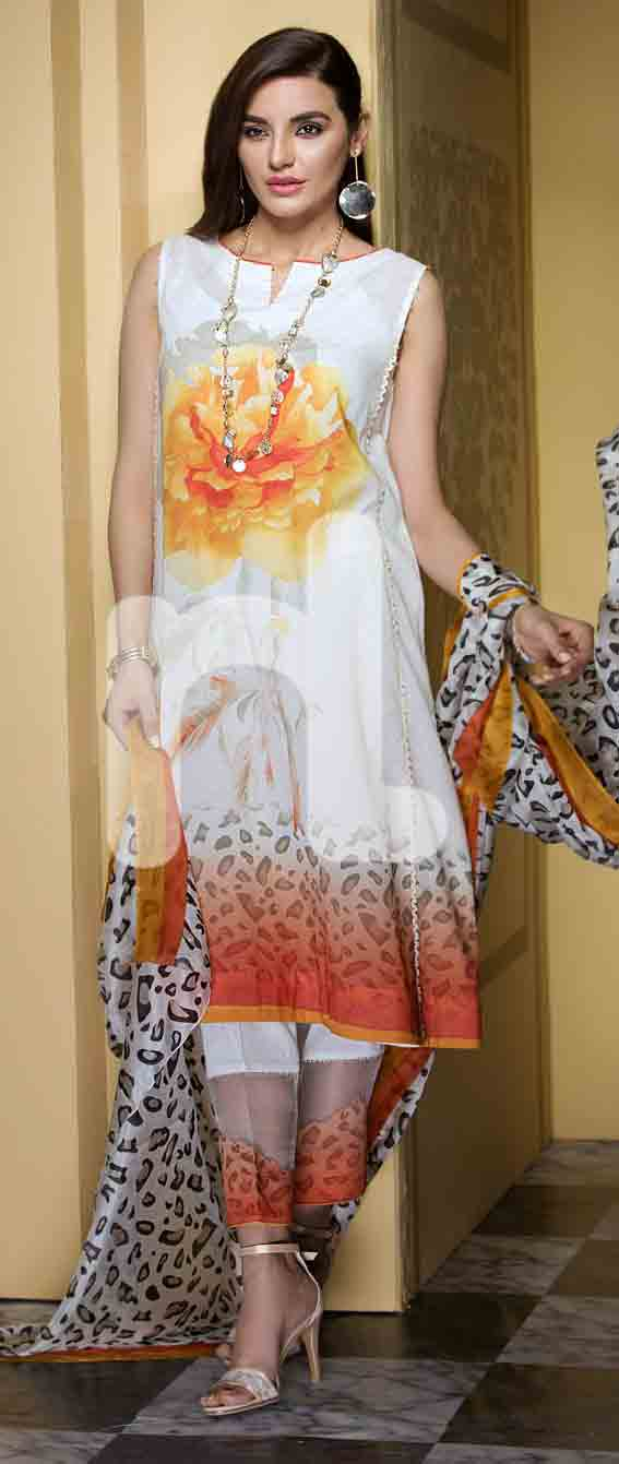 Best white and yellow girls eid dresses 2017 in Pakistan by Nishat Linen
