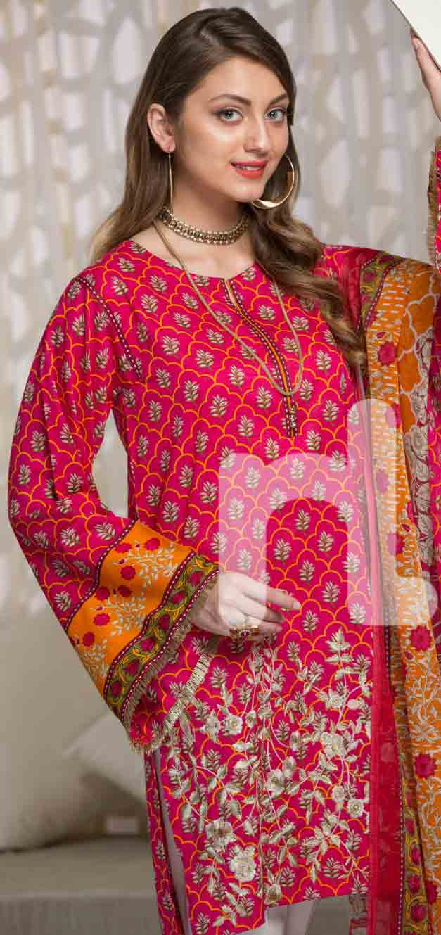 New red and orange girls eid dresses 2017 in Pakistan by Nishat Linen