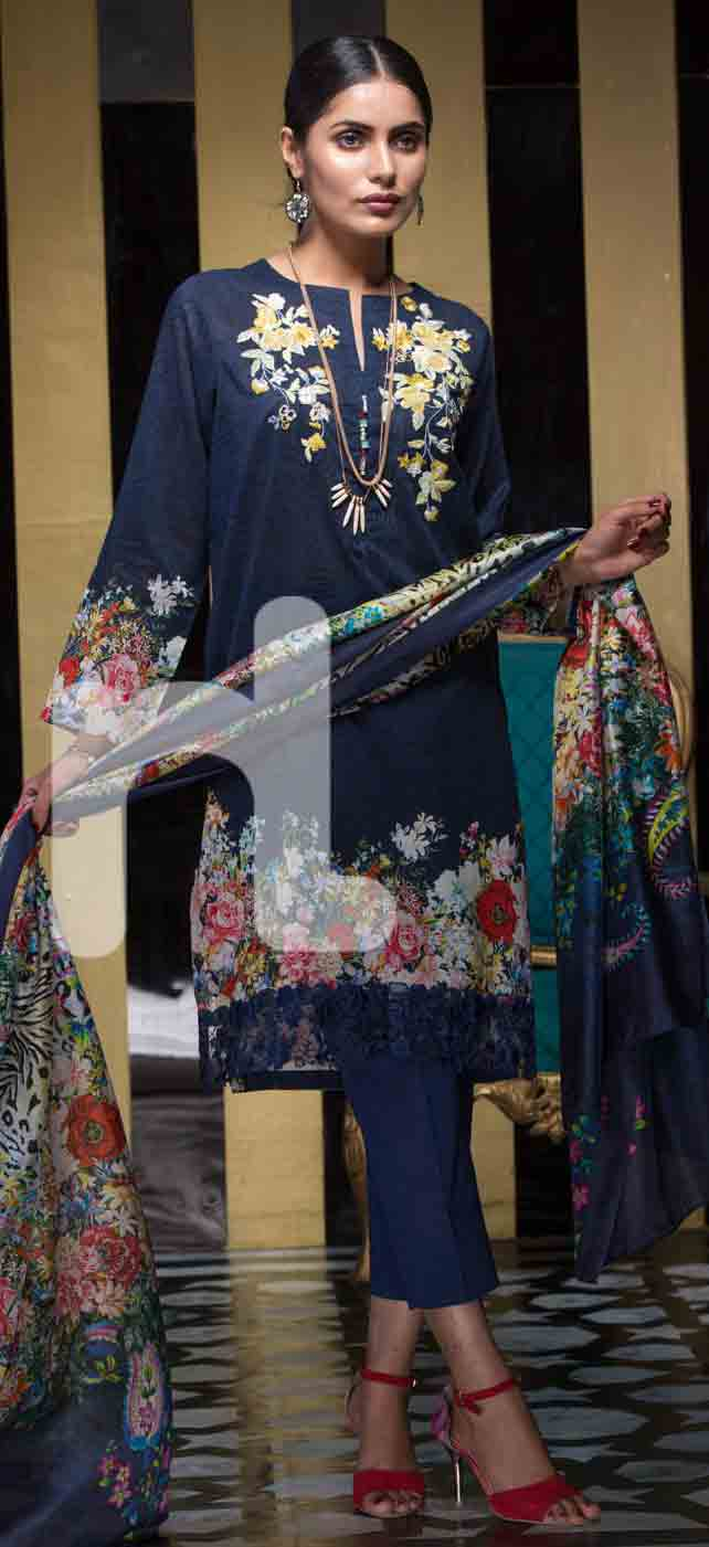 New blue girls eid dresses 2017 in Pakistan by Nishat Linen