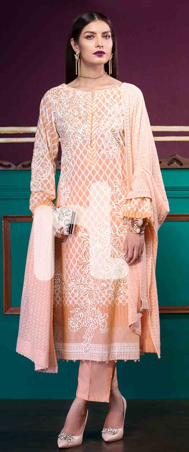 Best peach girls eid dresses 2017 in Pakistan by Nishat Linen