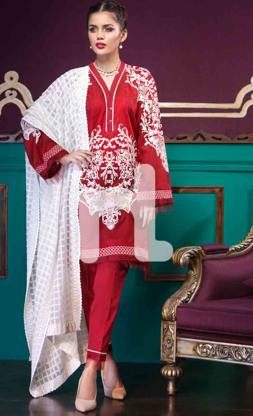 Latest white and red girls eid dresses 2017 in Pakistan by Nishat Linen