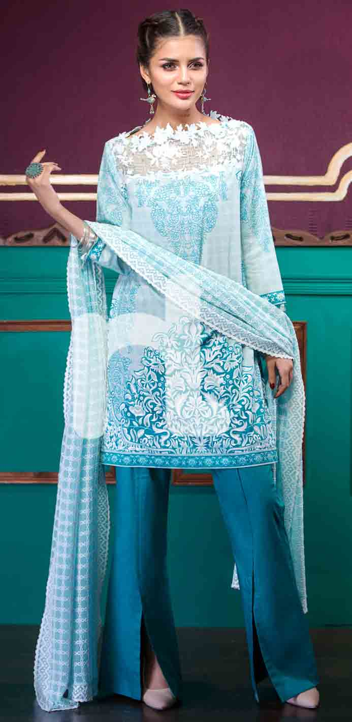 Latest sky blue girls eid dresses 2017 in Pakistan by Nishat Linen