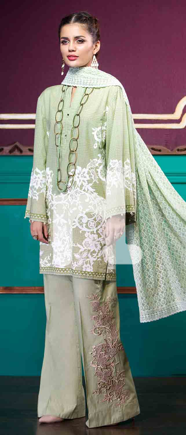 Latest light green girls eid dresses 2017 in Pakistan by Nishat Linen