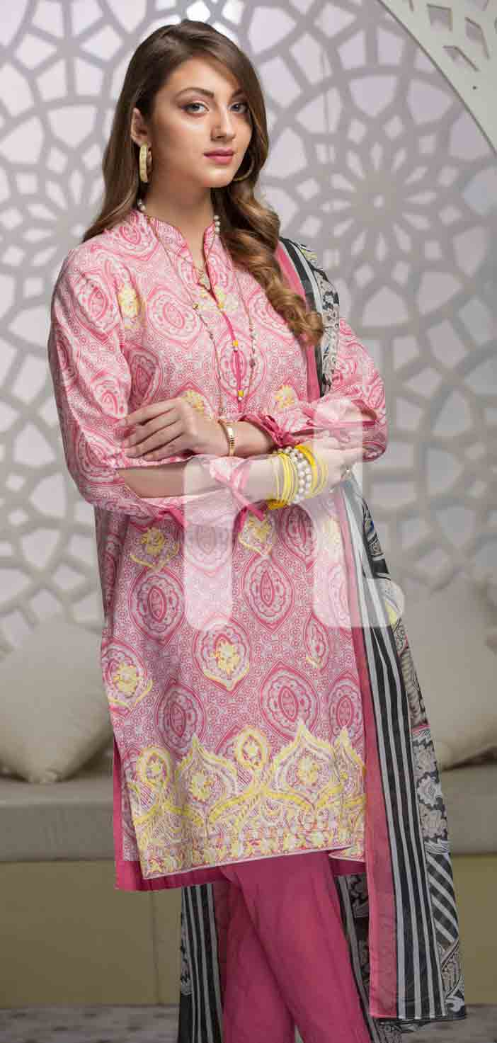 New light pink girls eid dresses 2017 in Pakistan by Nishat Linen