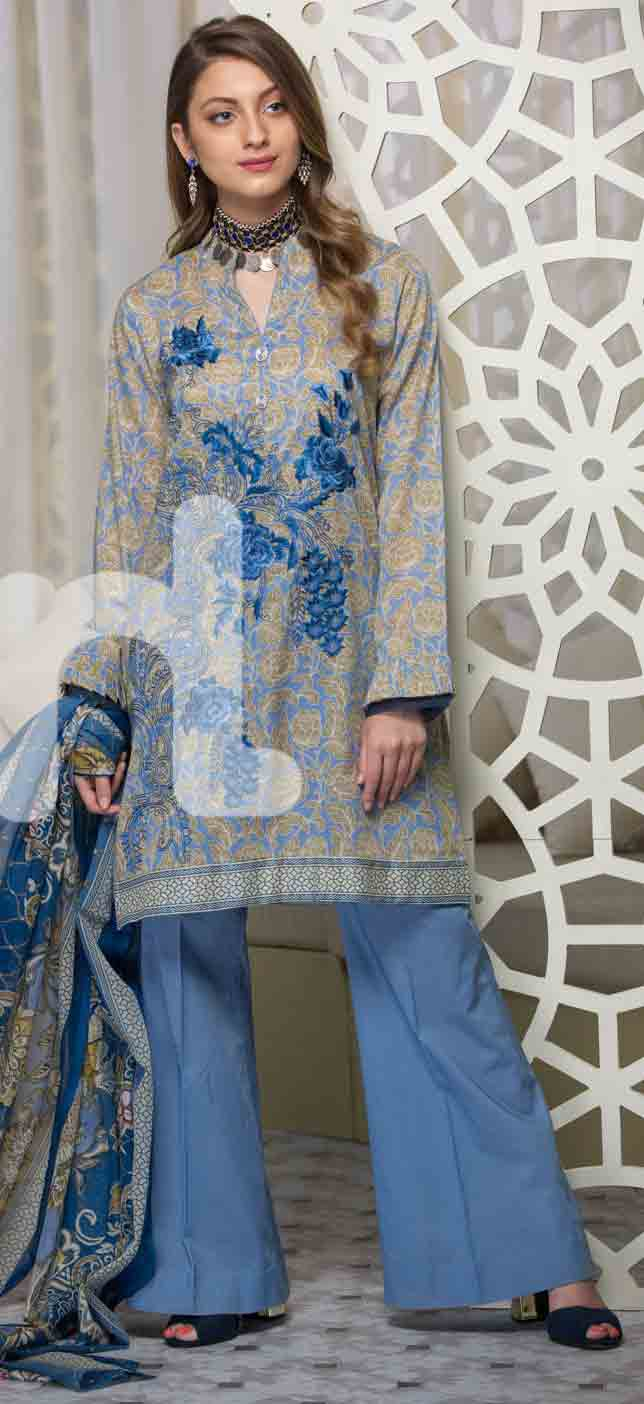 latest grey and blue girls eid dresses 2017 in Pakistan by Nishat Linen