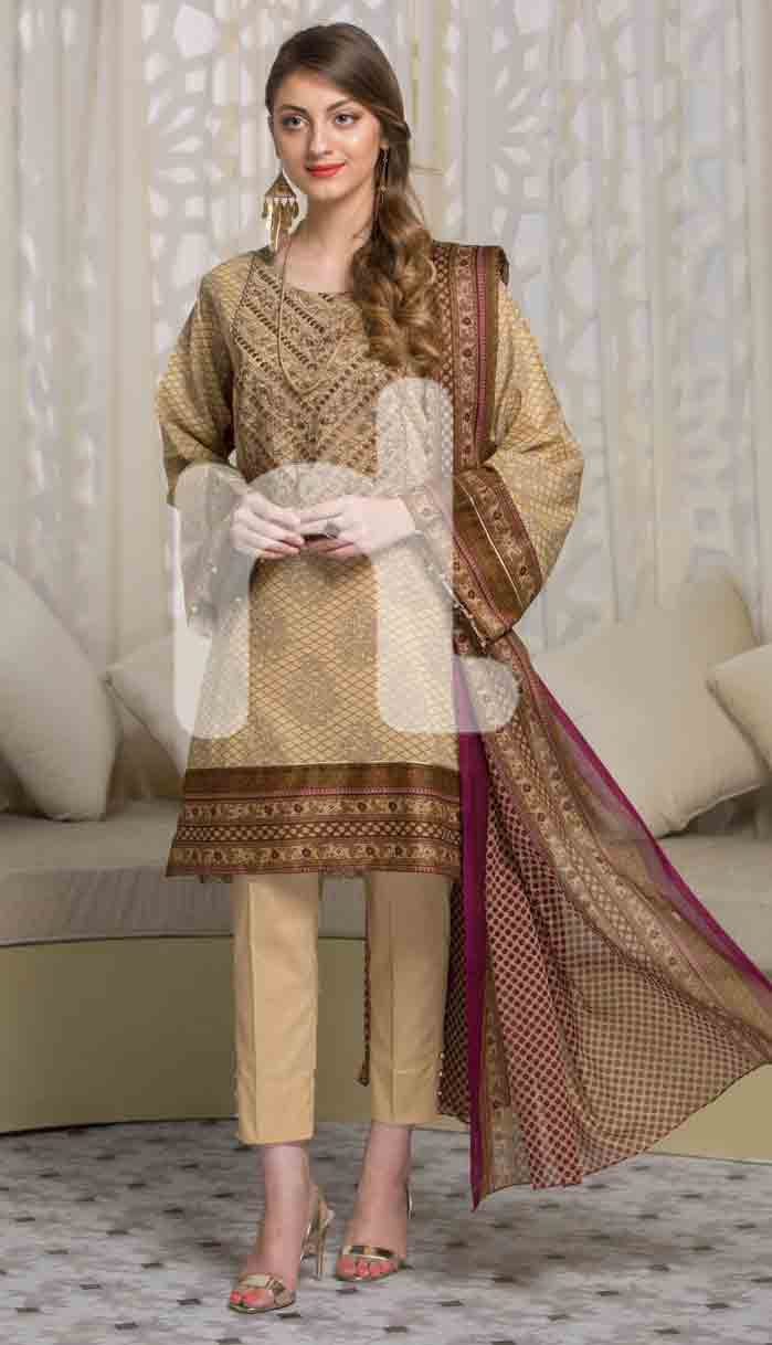 latest beige and brown girls eid dresses 2017 in Pakistan by Nishat Linen