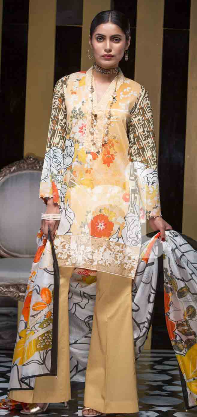 latest yellow and off white girls eid dresses 2017 in Pakistan by Nishat Linen
