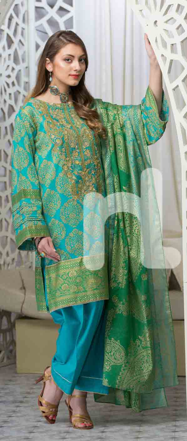 latest green and ferozi girls eid dresses 2017 in Pakistan by Nishat Linen