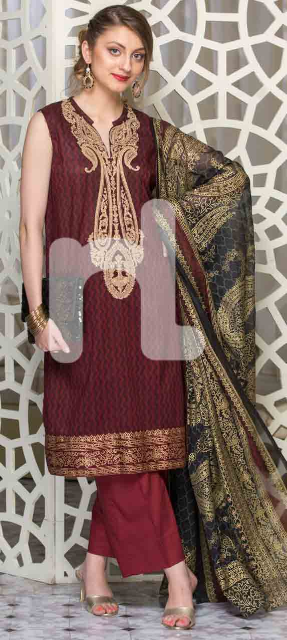 best maroon girls eid dresses 2017 in Pakistan by Nishat Linen