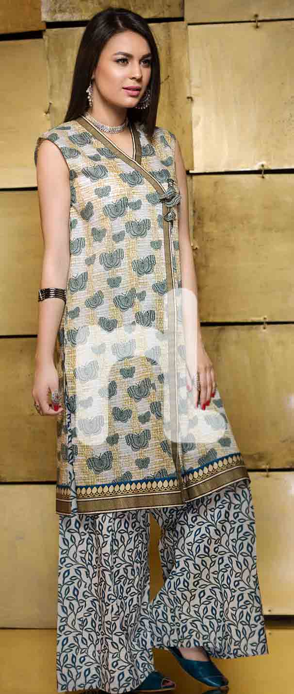 new off white girls eid dresses 2017 in Pakistan by Nishat Linen