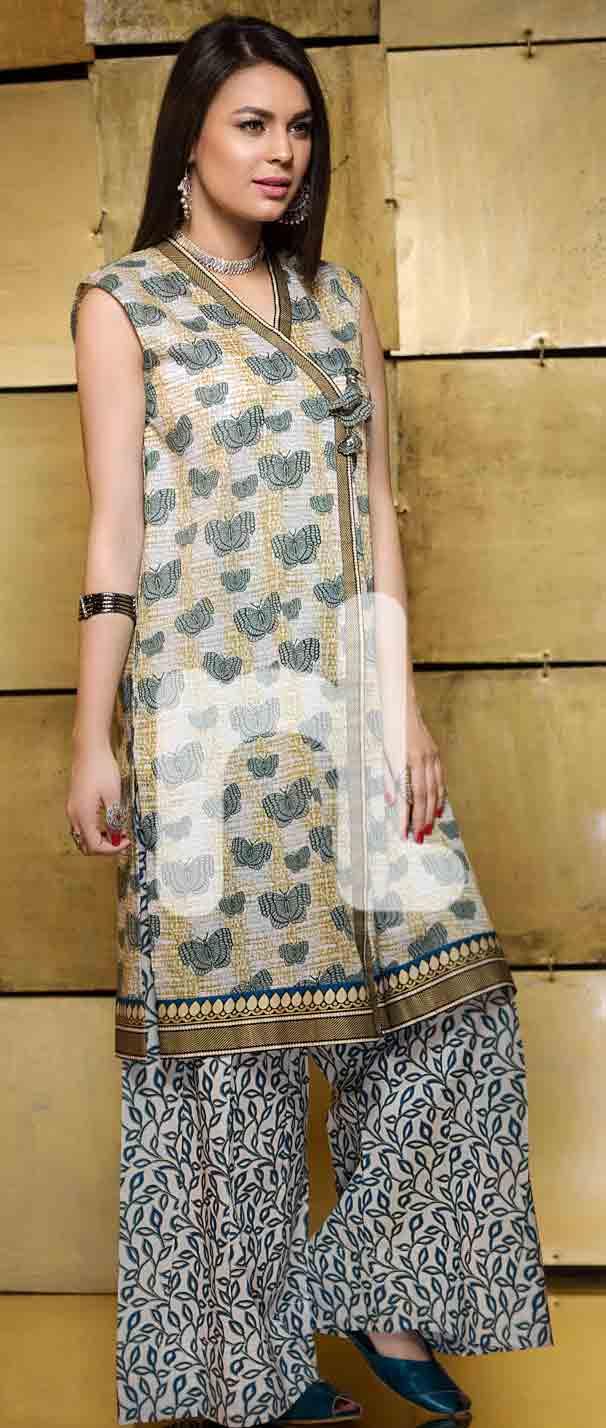 new off white girls eid dresses 2017 in Pakistan by Nishat Linen