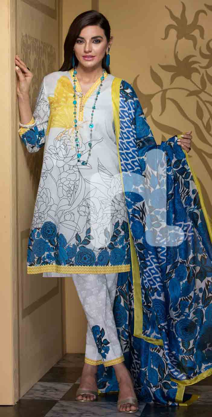 New blue and white girls eid dresses 2017 in Pakistan by Nishat Linen