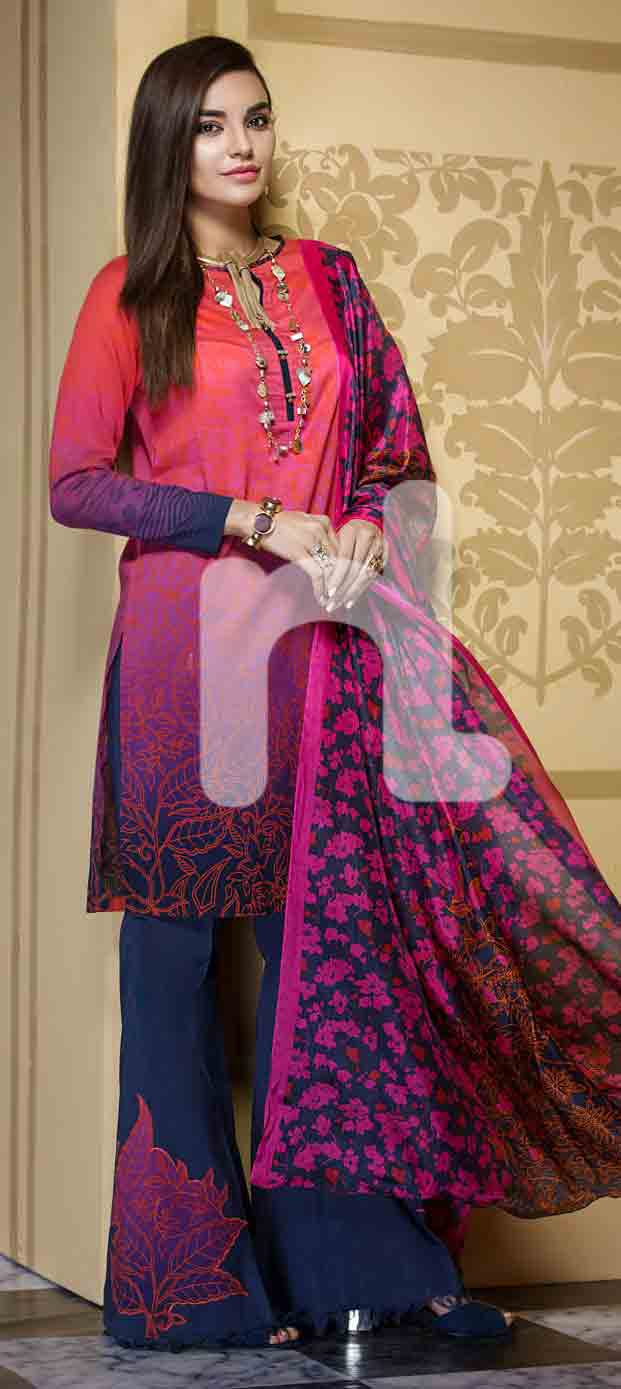 Best red and blue girls eid dresses 2017 in Pakistan by Nishat Linen