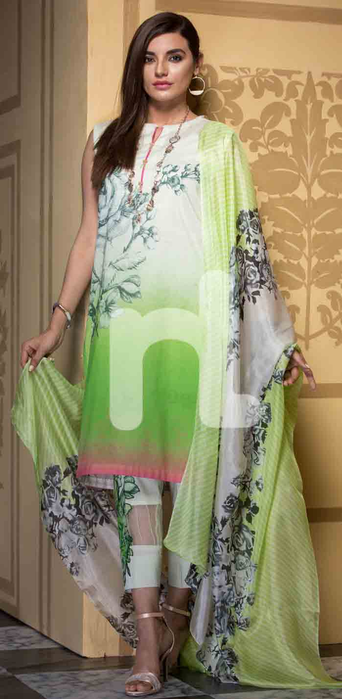 New white and green girls eid dresses 2017 in Pakistan by Nishat Linen