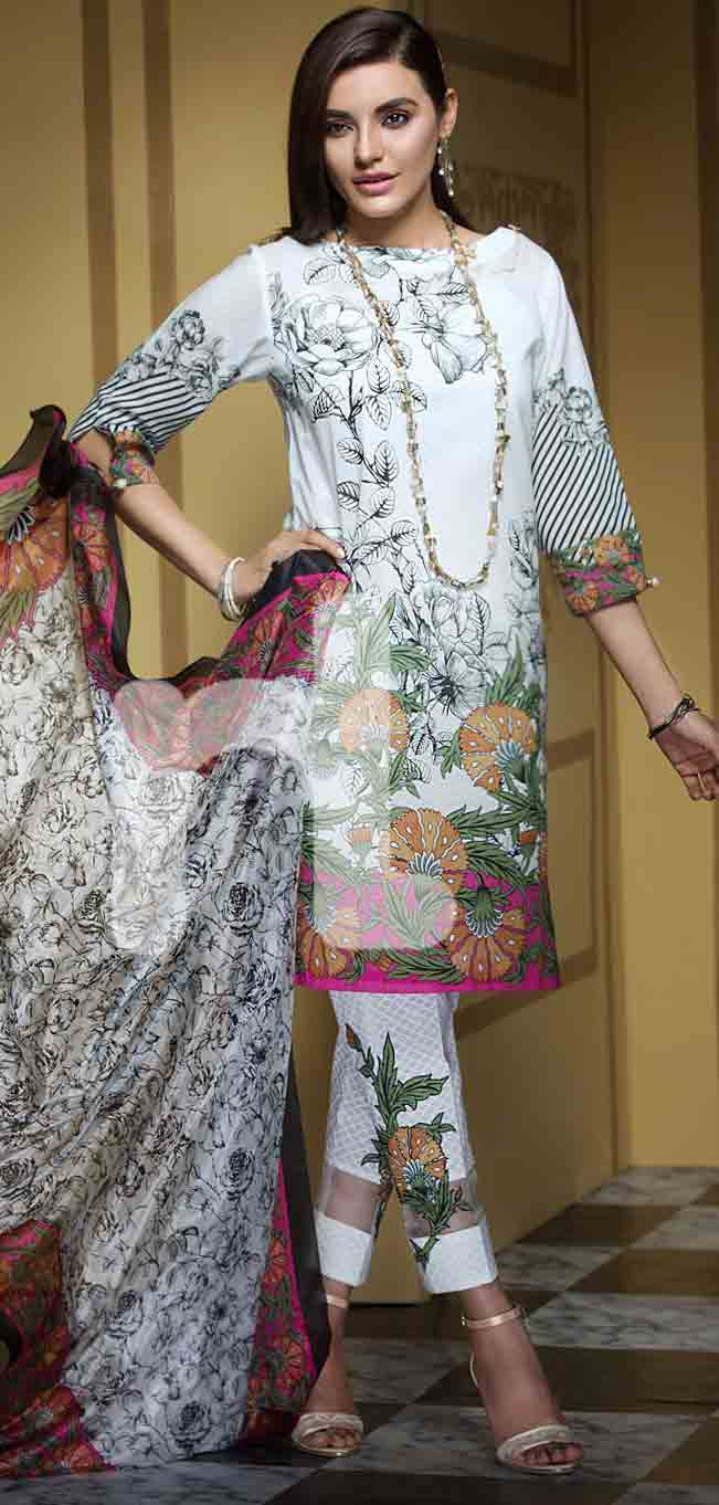 New white girls eid dresses 2017 in Pakistan by Nishat Linen