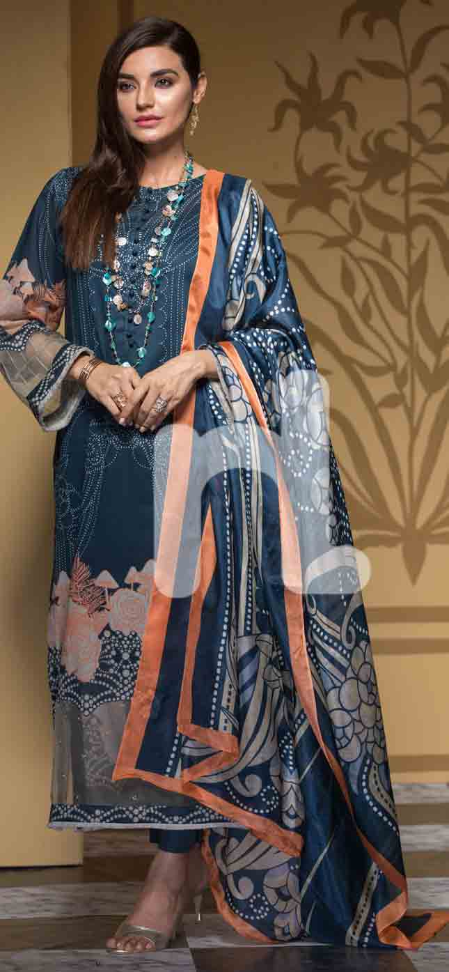 Best blue girls eid dresses 2017 in Pakistan by Nishat Linen