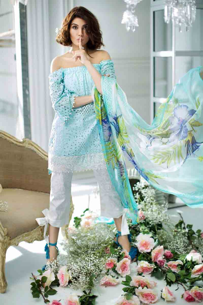 Sana safinaz light blue ferozi off shoulder short shirt with white capri and dupatta refreshing new summer lawn dresses 2017 for Pakistani girls