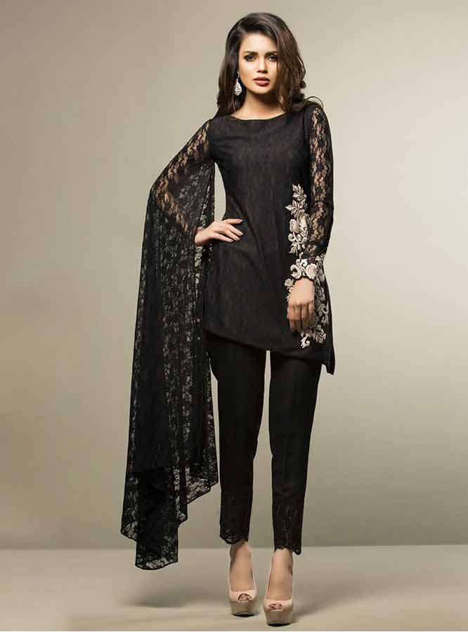 Zainabchottani Beguiled By Black Net Lace Party Dresses