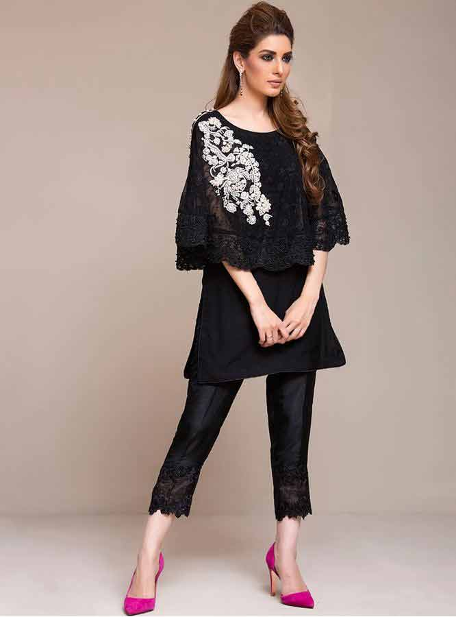 latest black short shirt with black pajama girls net dresses 2017 pakistani party dresses with price