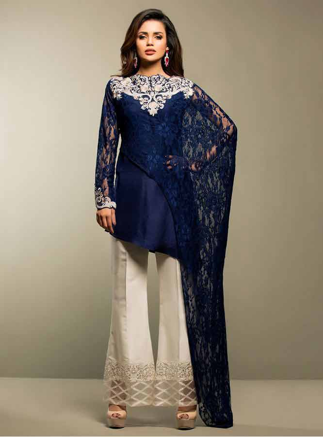 latest Zainab chottani navy blue net lace short shirt with white embroidery on neck and white trouser girls net dresses 2017 pakistani party dresses with price
