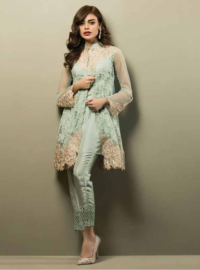 latest zainab chottani short front open shirt with matching sea green trouser girls net dresses 2017 pakistani party dresses with price