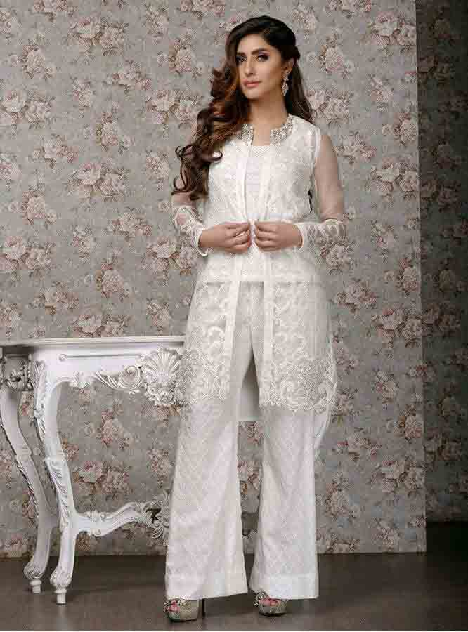 Zainab chottani pearl white short open shirt with white trouser girls net dresses 2017 pakistani party dresses with price