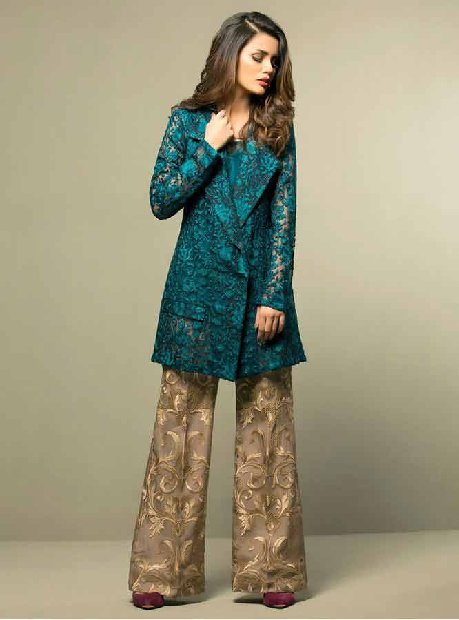 Zainab Chottani teal and golden girls net dresses 2017 pakistani party dresses with price