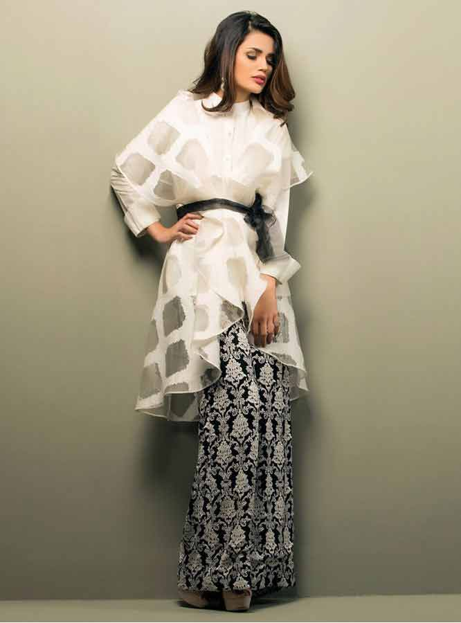 2da26714099 new white net lace party dress with black printed trouser girls net dresses  2017 pakistani party