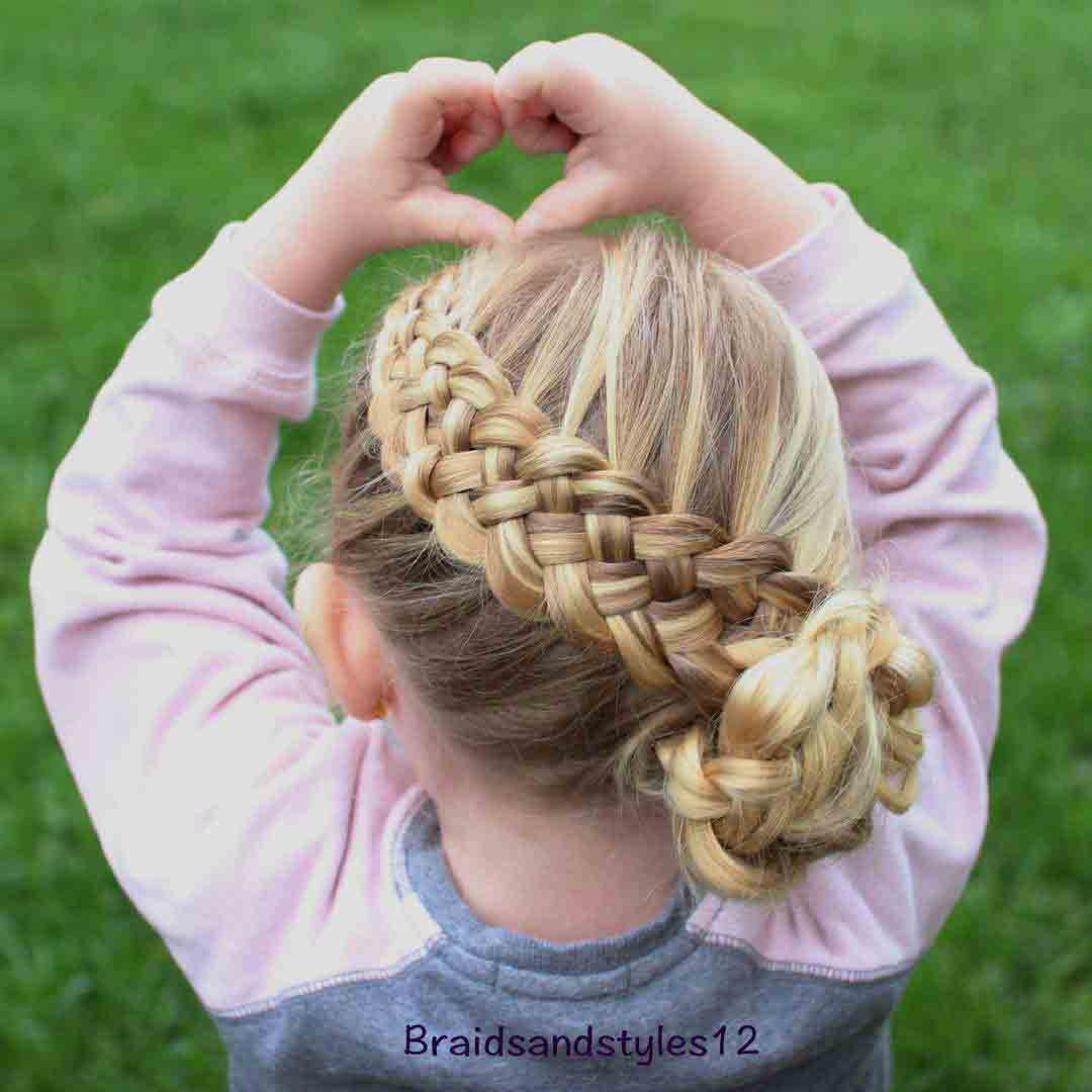 latest dutch braid with side hair bun little girls hairstyles for eid party 2017