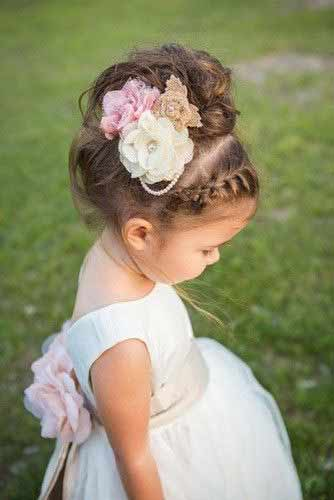 cute floral updo with front hair braid little girls hairstyles for eid party 2017