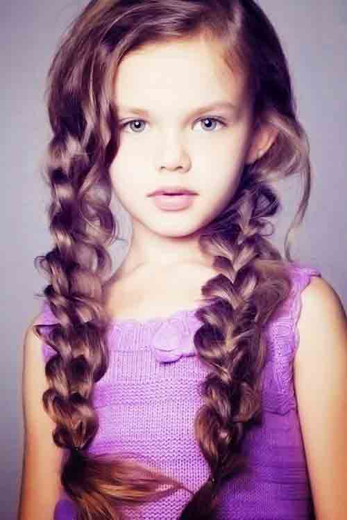 two sided simple three strand braid for long hair little girls hairstyles for eid party 2017