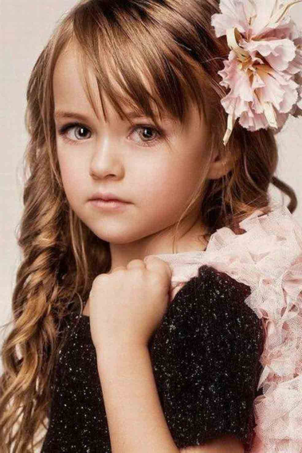 side bangs with floral hairstyle for long curly hair little girls hairstyles for eid party 2017