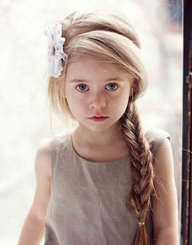 cute side braid with front hair puff little girls hairstyles for eid party 2017