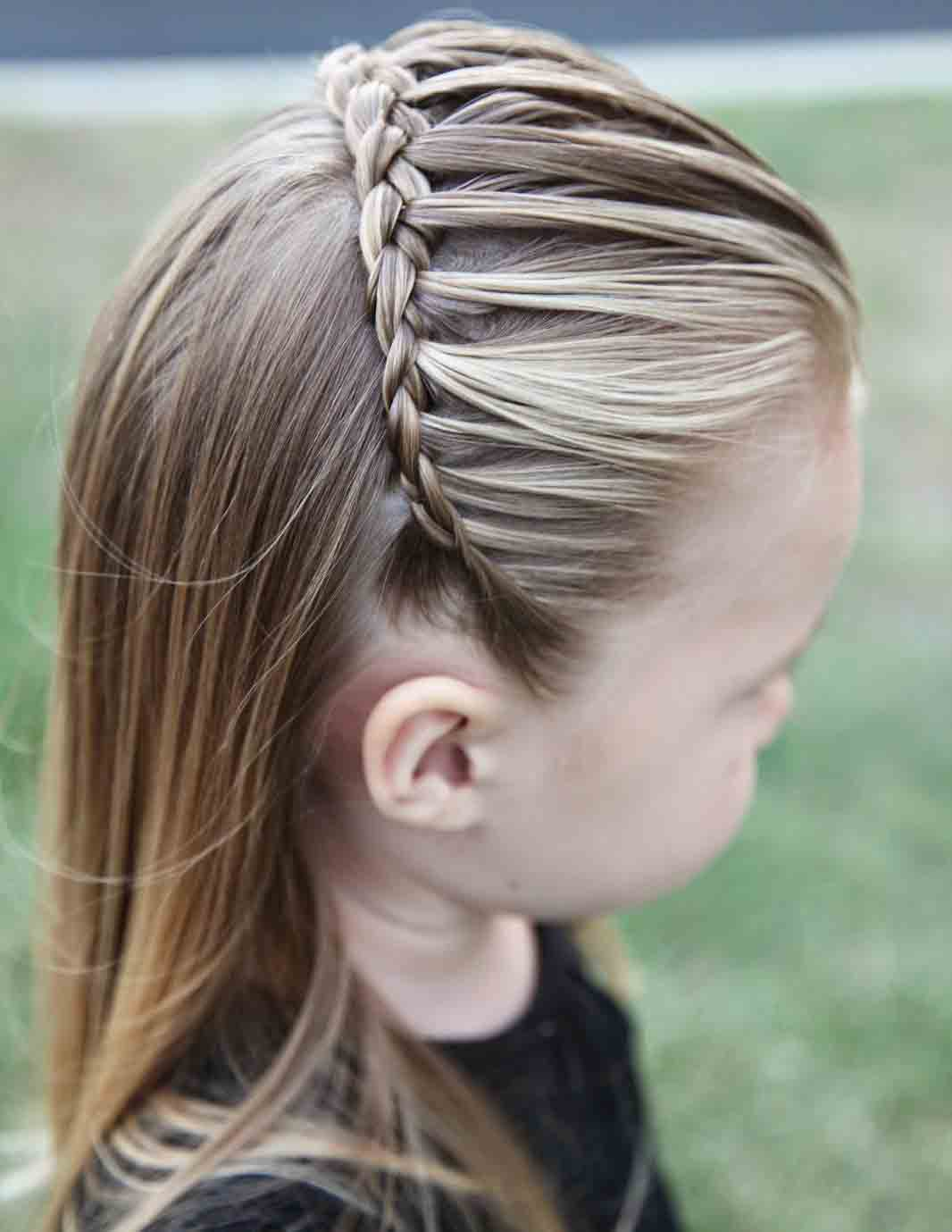 best front hair braided hairstyle half up half down little girls hairstyles for eid party 2017